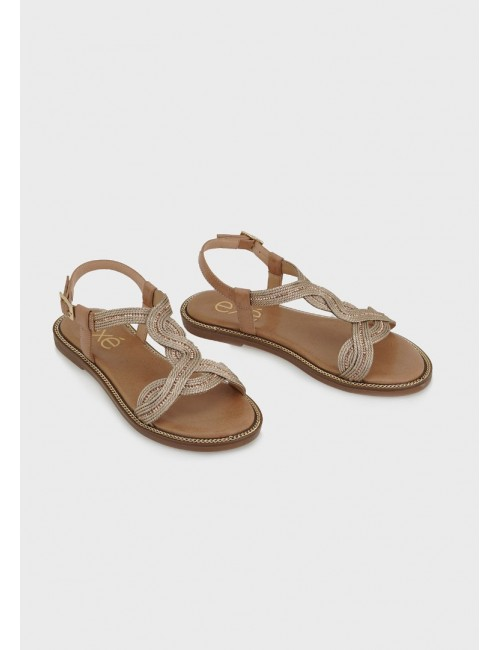Γυναικείο παπούτσι flat EXE M47001621P50 ΡΟΖ ΧΡΥΣΟΣ ΣΤΡΑΣ ΜΑΚΡΑΜΕ